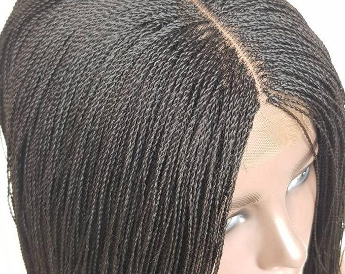 "Handmade Glueless Micro Tiny Million Twist Bob Closure Wig Senegalese Twist 1b 12-14"" Middle Part"