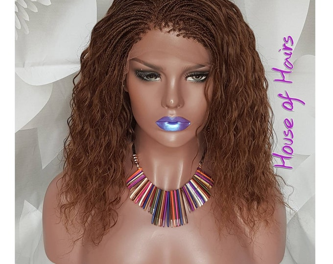 "100% Human Hair Water wave Handmade Micro Tiny Micro Braids Lace Front Pick n Drop Wig 14"" #8"