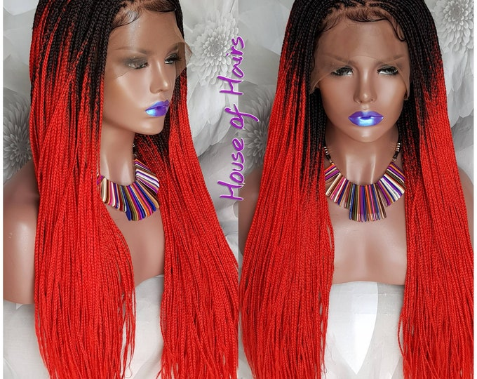 TRACI - Handmade Glueless Box Braids Full Lace Box Braids Ombre Black Red 2 tone 22-24""
