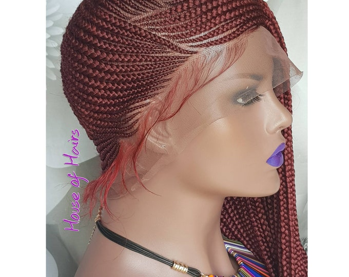"Braided FULL LACE Wig Lemonade Braids Cornrow Ghana Weave Box Braids Col Red/Wine 24"" Baby Hair"