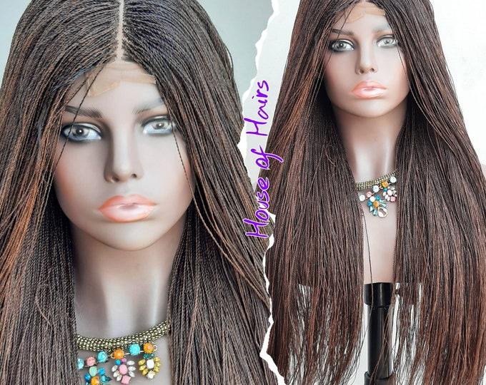 "Handmade Braided Closure Crochet Wig Senegalese Needle Twist 33/30 mix Black Brown 24""-26"""