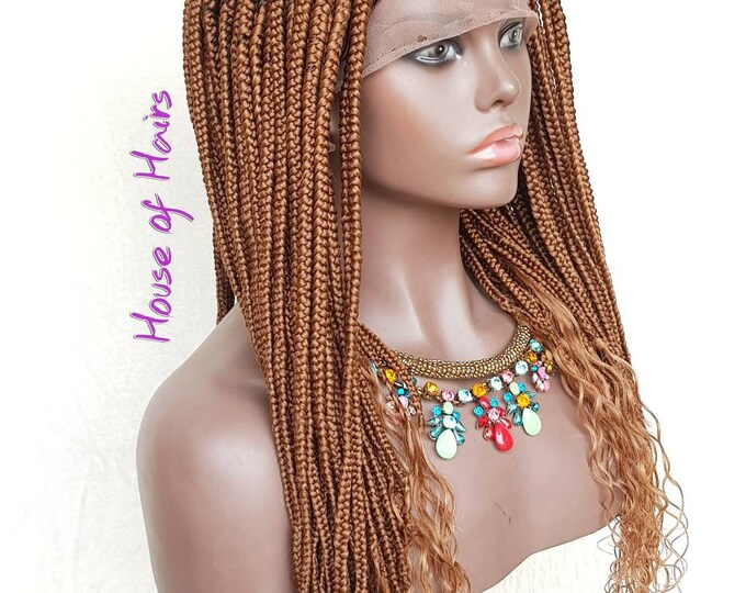 "Handmade Glueless Medium Goddess Box Braids Plaits Full Lace Colour 30 Auburn 20"" human hair curls"