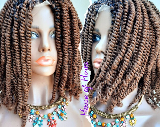 SHELLY - Handmade Braided Frontal Lace Closure Crochet Wig Afro Kinky SPRING Twist Ombre Black #33 12""