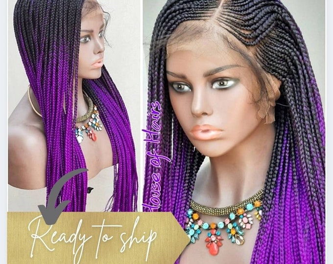 "Braided FULL LACE Wig Braids Cornrow Ghana Weave Box Braids Purple ombre 24-26"" Baby Hair"