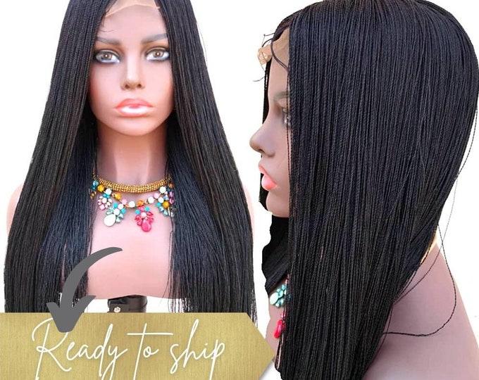 "Handmade Braided Closure Crochet Wig Senegalese Needle Twist 1 Black 22-24"""