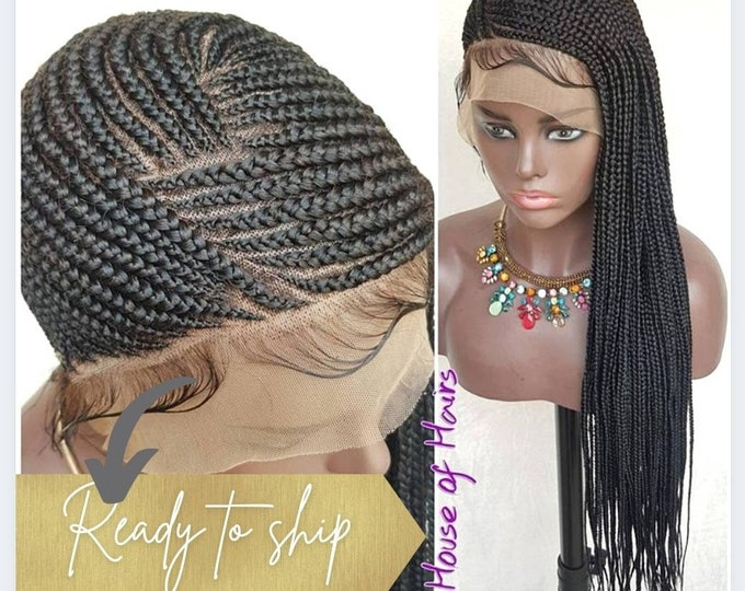 Handmade Braided Full Lace Wig Lemonade Cornrow Ghana Weave 1 Black HD Transparent lace