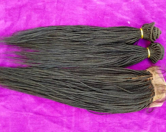 Handmade Braided Frontal Lace Weave 2 Bundles Wig Micro Plaits colour 1b 18-20""