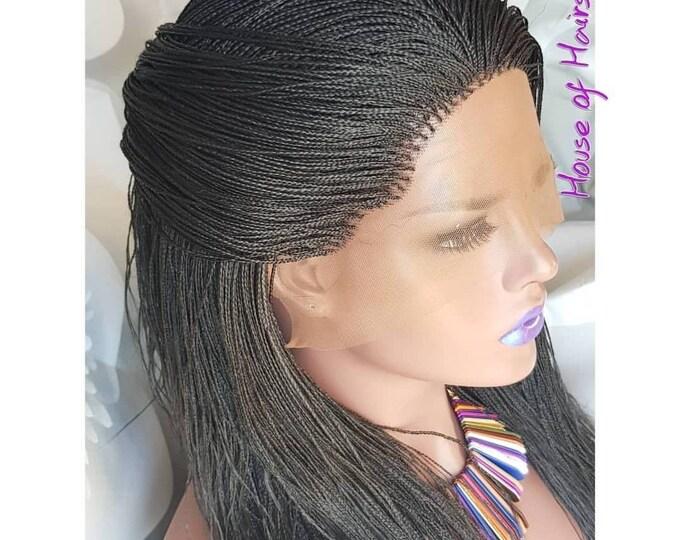 "Handmade Glueless Braided Lace Front Wig Million Plaits Braids colour 1b off black 14""-16"""