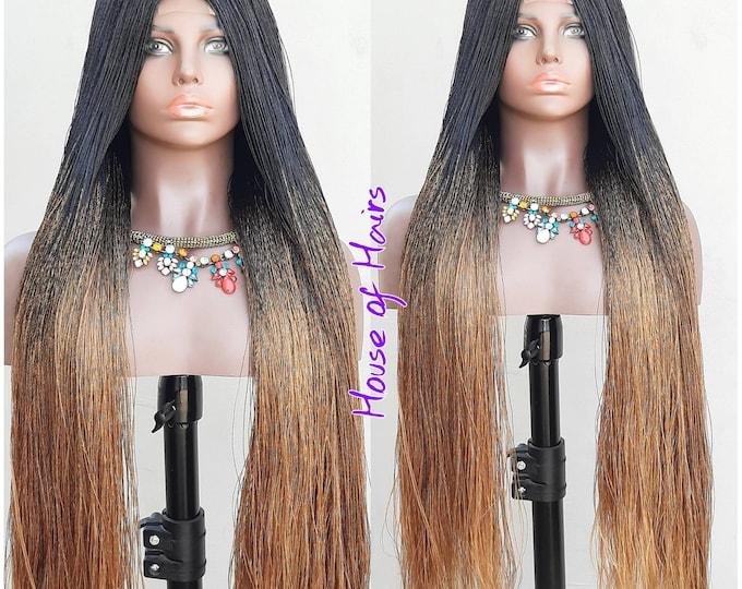 "Strandz Braided Closure Crochet Wig Senegalese Needle Twist 1/27 Ombre Black Brown 28-30"""
