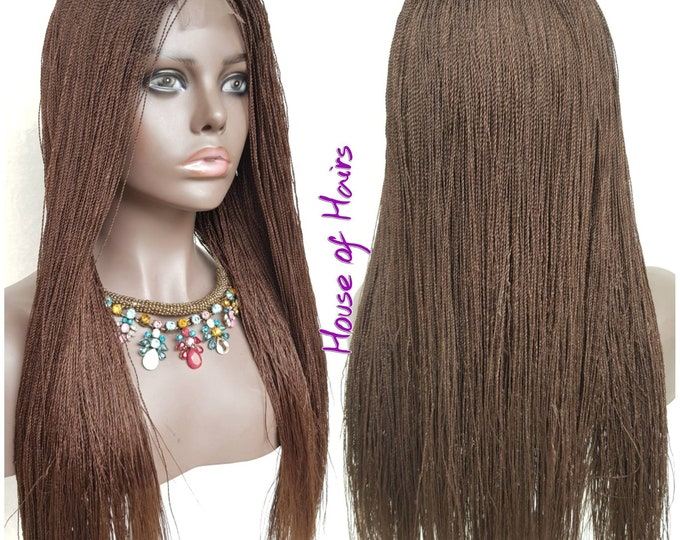 Handmade Braided Closure Crochet Wig Senegalese Needle Twist 33 Dark Auburn 22""