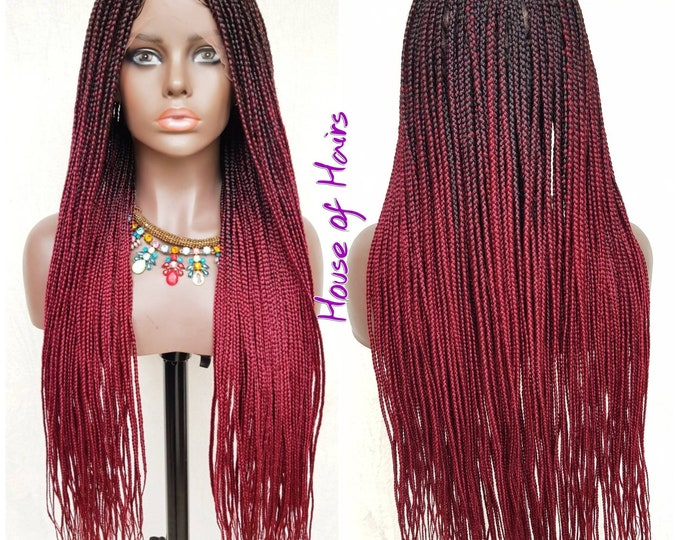 "Small/Medium Box Braids Full Lace Box Braids Plaits Wig Black Ombre Burgundy Wine 3 tone 24""-26"""