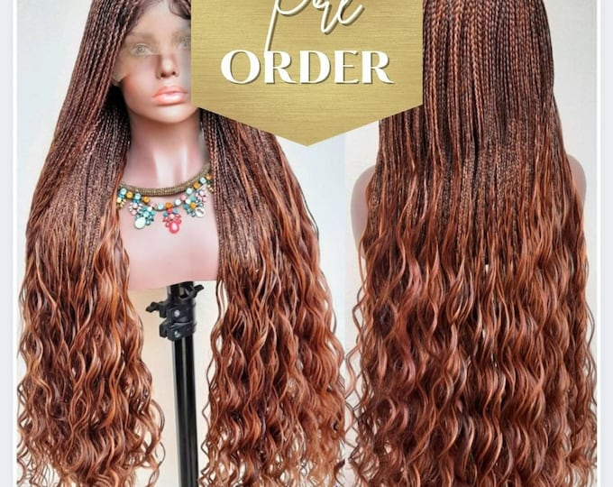 "ATHENA - Micro Plaits Box Braids with curly ends Frontal Lace Wig Brown mix  28""-30"" - Pre order"