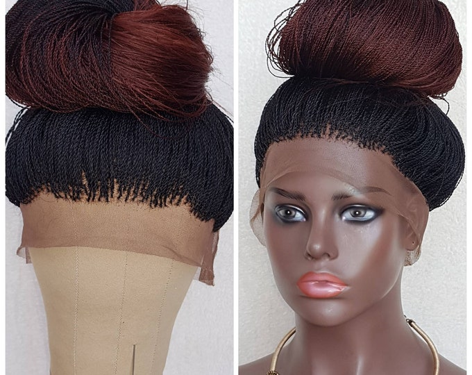 Handmade Braided 360 Lace Ombre Wig Million Senegalese Twist colour 1b/35 22-24""