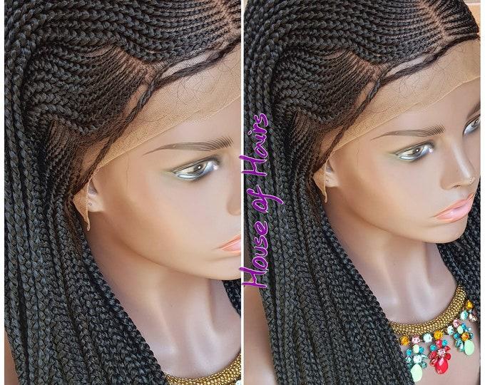 "Braided Frontal Wig Steps Braids Cornrow Ghana Weave Box Braids Colour 1b 24""-26"" Baby Hair"