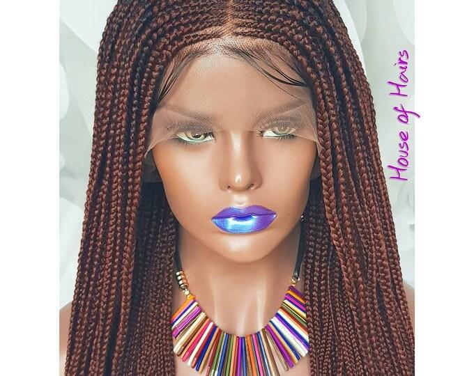 Handmade Layer Braids Cornrows Braided Full Lace Wig Colour 35 Red Auburn Baby Hair