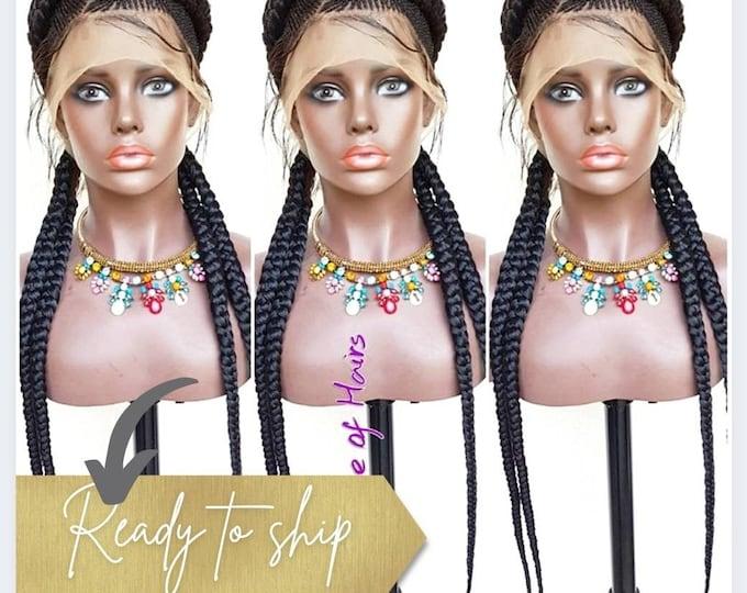 Handmade Braided Full Lace Wig Boxer 2 Cornrow Ghana Weave 1b Black HD Transparent lace