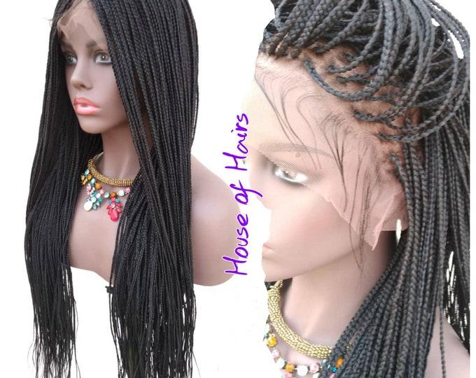 "Braided Full Lace Wig Micro Plaits Braids Colour 1B Off Black 26"""