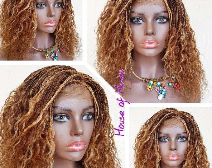 "Handmade Braided Full lace Micro plait pick n drop part braided wig colour 27/30 14"""