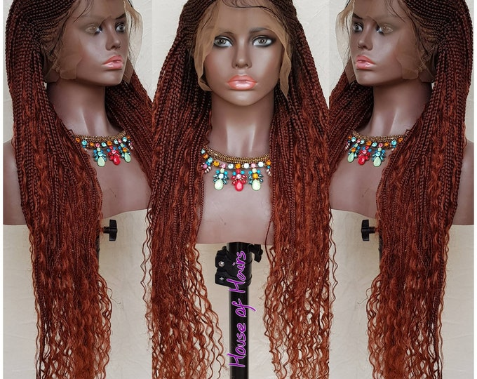 "Handmade Glueless Boho Ghana Braids FULL LACE 1b/35 24-26"""