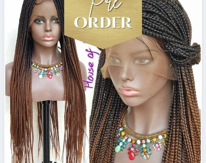 "TONI - Small/Medium Box Braids Full Lace Knotless Wig Black Ombre Brown 2 tone 24""-26"""