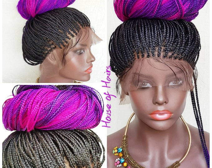 TRACI - Handmade Micro Plaits Full Lace Wig Box Braids Ombre Black Pink Purple 3 tone 26-28""
