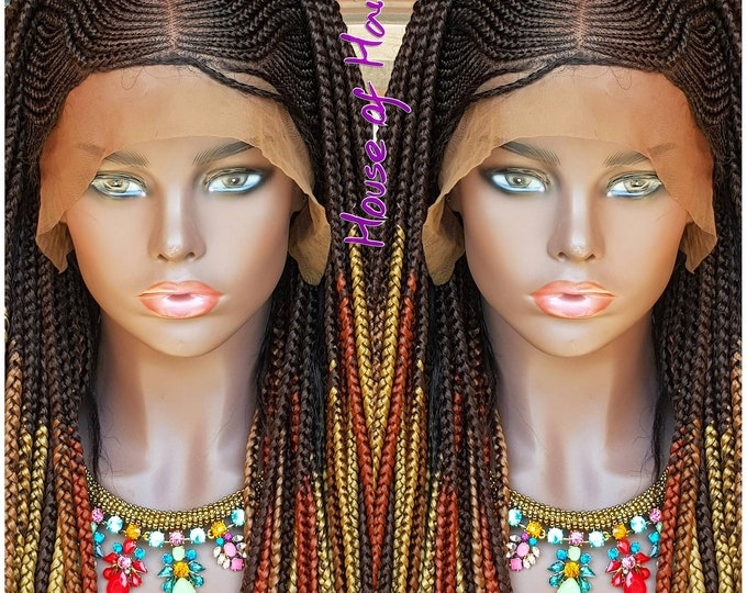 Handmade Braided Full Lace Wig Steps Cornrow Ghana Weave with Box Braids Multi Ombre Baby Hair
