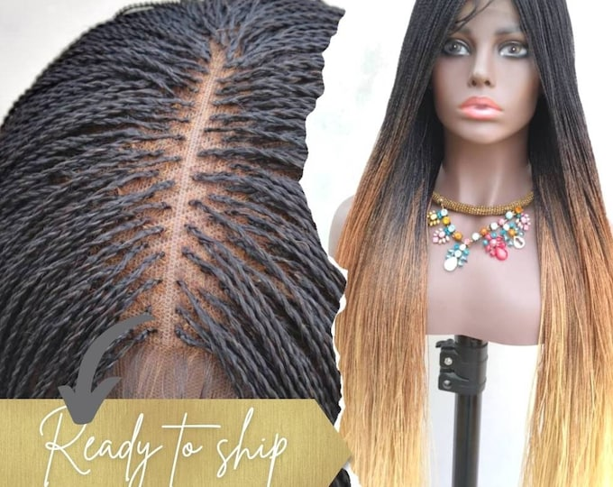 LOLLY - Handmade Braided Closure Crochet Wig Needle Twist Black Brown Blonde Ombre 26-28""