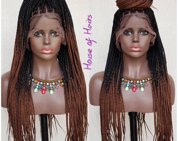 "Handmade Glueless Medium Box Braids Full Lace Knotless Wig Black Ombre Brown 24"""