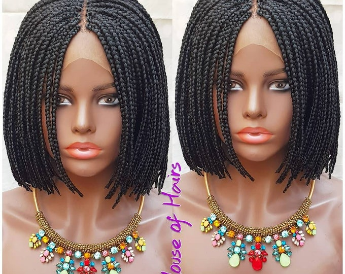 "Handmade Glueless Box Braids FRONTAL Black Bob 10-12"""