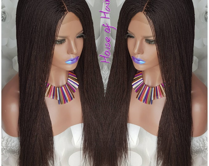 "Glueless Micro Tiny Million Twist Closure Wig Senegalese Twist Colour 33 Dark Auburn 24"" Middle Part"