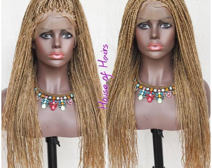 "Handmade Boho Box Braids Full Lace Wig Black 26-28"" Human Hair tips and strands"