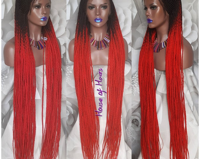 Handmade Tribal Braids Cornrows Braided Full Lace Wig Ombre Red Black Baby Hair Ankle Length 45""