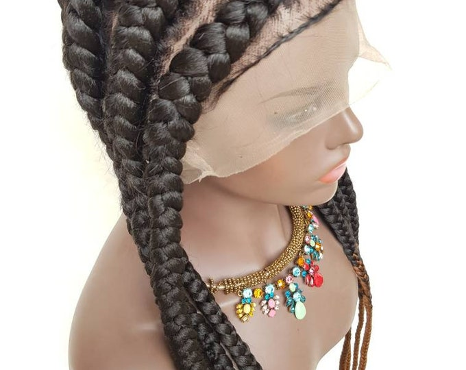 Handmade Braided Full Lace Wig Pop Smoke Cornrow Stitch Braids Ghana Weave #1b/30 ombre 26""