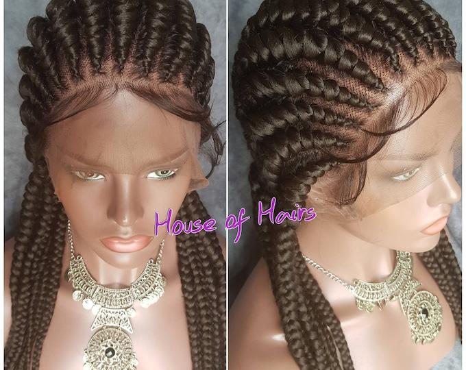 Handmade Big Ghana Weave Cornrows Braided Full Lace Braid Wig Colour 2 Darkest Brown Baby Hair