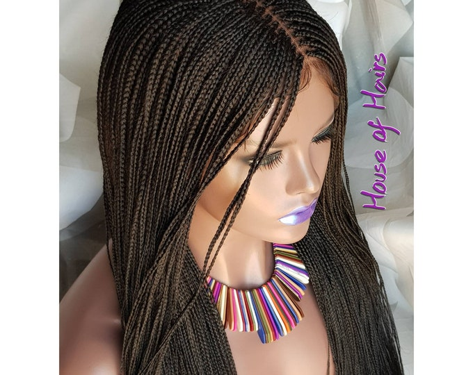 "Handmade Glueless Braided Lace Front 13x6 Wig Million Plaits Braids colour 1b off black 14""-16"""