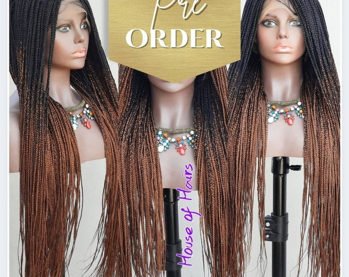 "GRACE - Small Knotless Box Braids Frontal Lace Wig Black Ombre Brown 2 tone 26-28"" - Preorder"