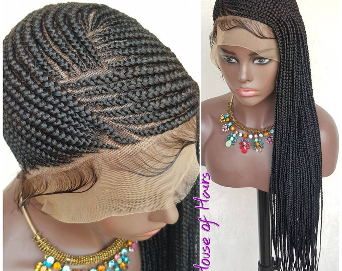 Handmade Braided Full Lace Wig Lemonade Cornrow Ghana Weave 1 Black HD Transparent lace