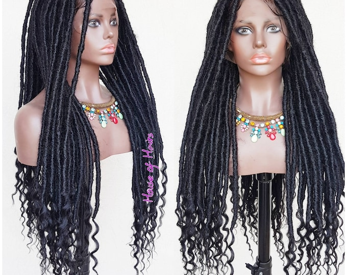 ZOE - Handmade Braided FULL Lace Wig Goddess Locs Black Baby Hair 26""