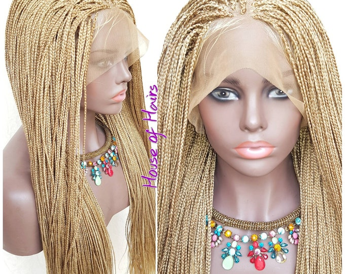 Braided Full Lace Wig Micro Plaits Braids Colour 24/27 Blonde Mix 28""