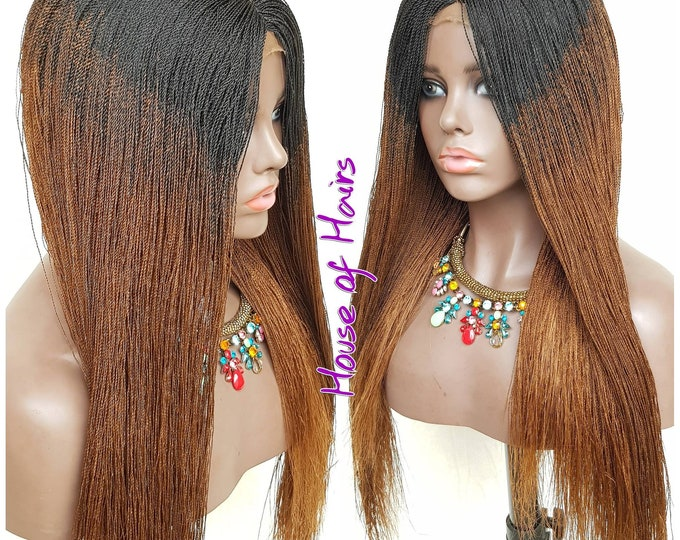Handmade Braided Closure Crochet Wig Senegalese Needle Twist 1/30 Ombre Black Brown 22""