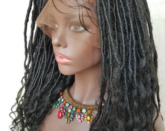 "ZOE - Handmade Braided FULL Lace Wig Goddess Locs Black Baby Hair 14-16"""