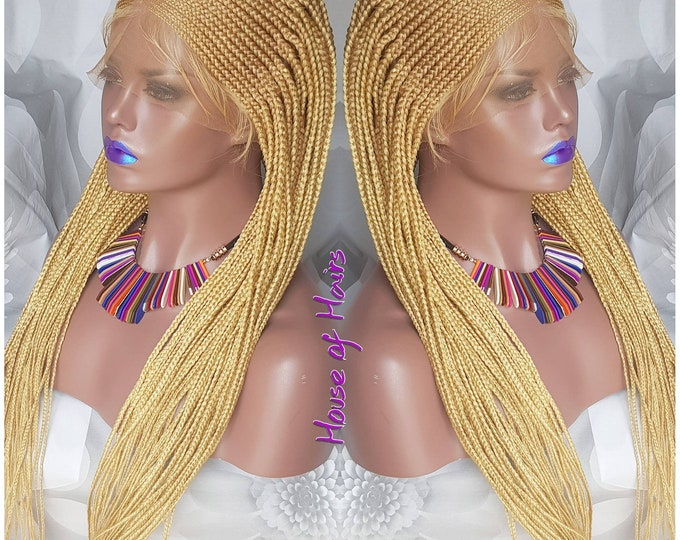 Handmade Tribal Braids Cornrows Braided Full Lace Wig Colour 24/613 Blonde Baby Hair