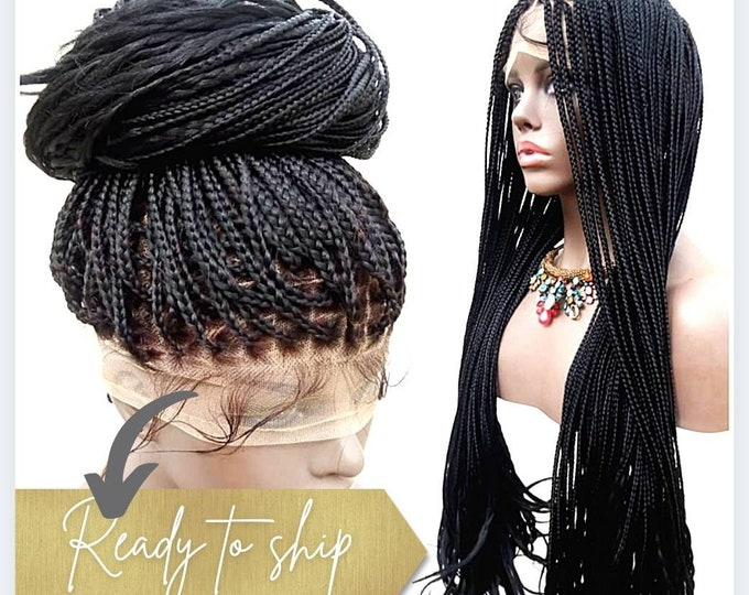 "Handmade Glueless Medium Box Braids Full Lace Knotless Wig Curly ends Black 26""-28"" HD Lace"