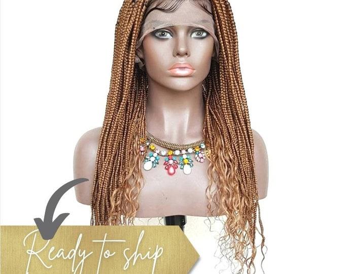 "Handmade Glueless Medium Goddess Box Braids Plaits Full Lace Colour 30 Auburn 20"" human hair curls"