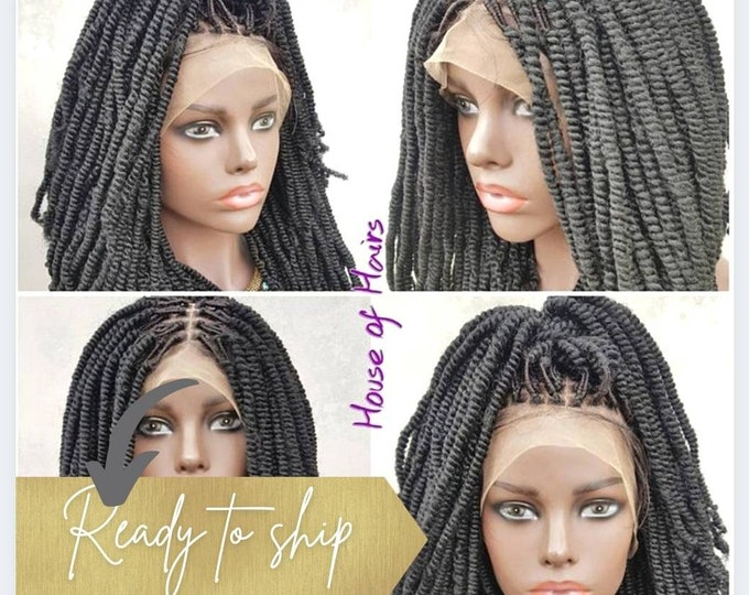 """SHELLY - Handmade Braided Frontal Lace Closure Crochet Wig Afro Kinky SPRING Twist Ombre Black Auburn 14"""" NEW"""