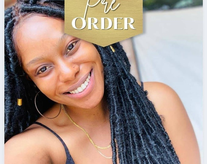 """STEPH - Handmade Braided FULL Lace Wig Distressed Locs Black Baby Hair 28-30"""" - Preorder only"""
