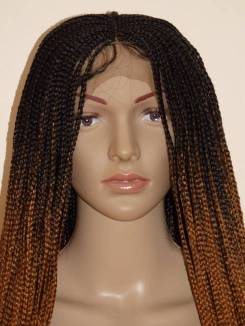Handmade Ombre Box Braid Braided Lace Front Wig Off Black