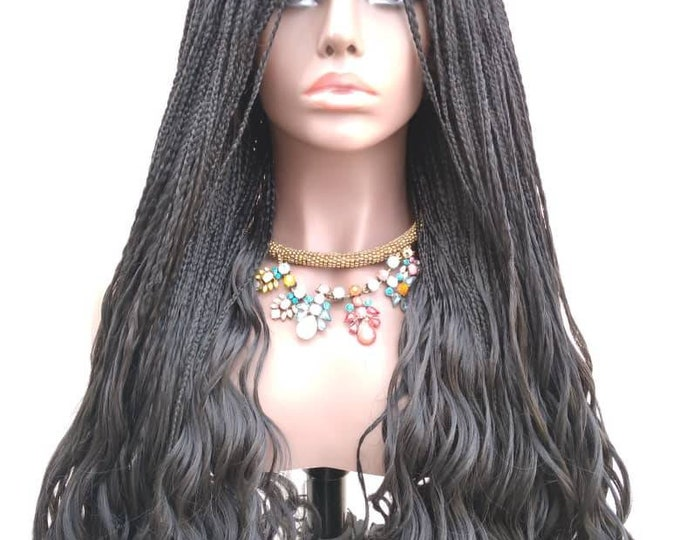 """ATHENA - Micro Plaits Box Braids with curly ends Frontal Lace Wig Black  28""""-30"""""""