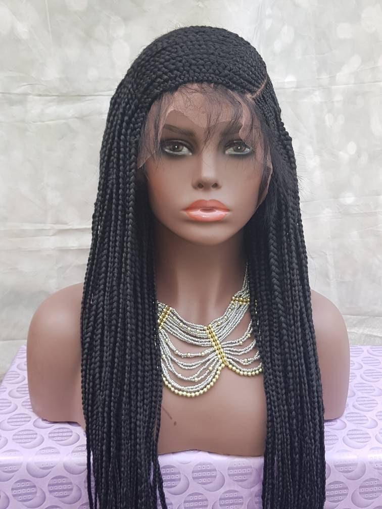 Braided Full Lace Wig C Cut Side Part Braids Cornrow Ghana