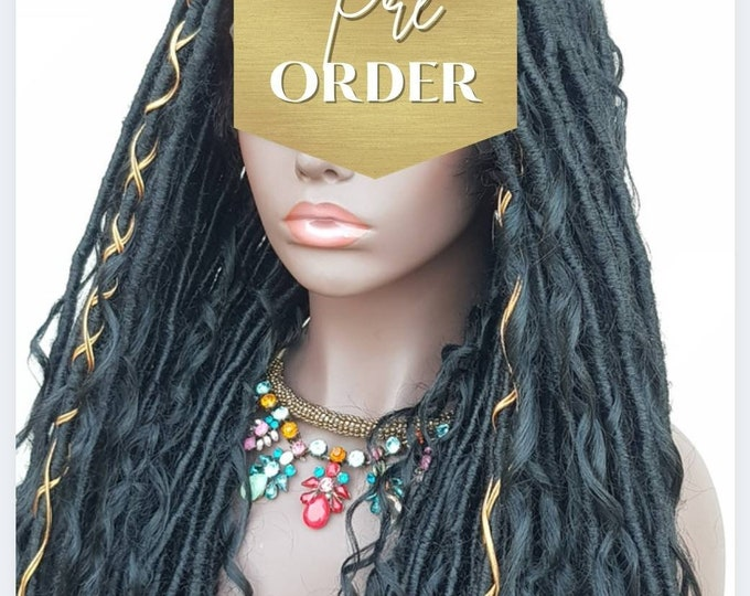 "LEA - Handmade Braided FULL Lace Wig Boho Goddess Locs Black Baby Hair 28-30"" - Preorder only"